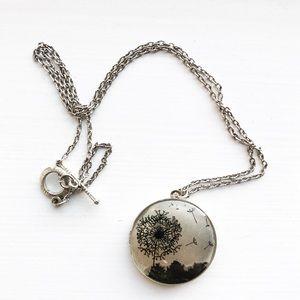 Vintage silver & black dandelion locket necklace